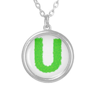 green letter silver plated necklace