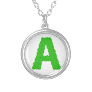 green letters silver plated necklace
