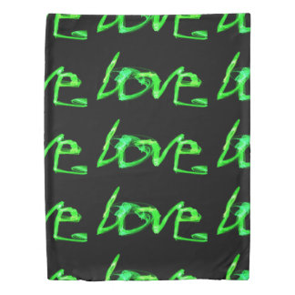 green letters the word love black background duvet cover