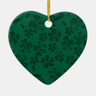 green lflowers ceramic ornament