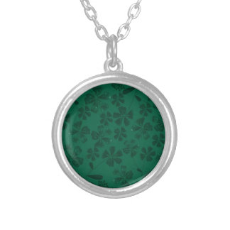 green lflowers silver plated necklace