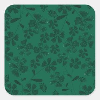 green lflowers square sticker
