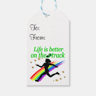 GREEN LIFE IS BETTER ON THE TRACK DESIGN PACK OF GIFT TAGS