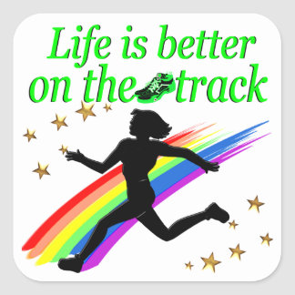 GREEN LIFE IS BETTER ON THE TRACK DESIGN SQUARE STICKER