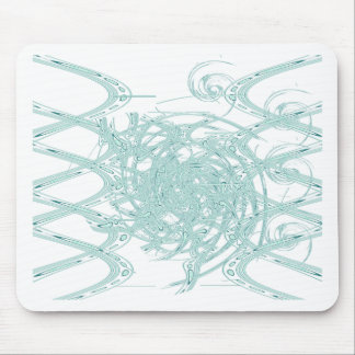Green light design on white mouse pad
