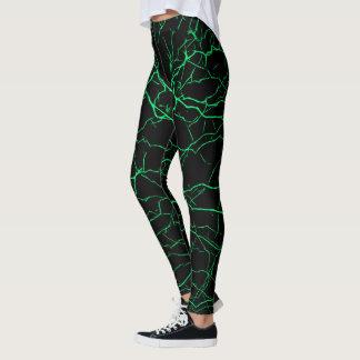 Green lightning, bolts pattern, thunders on black leggings