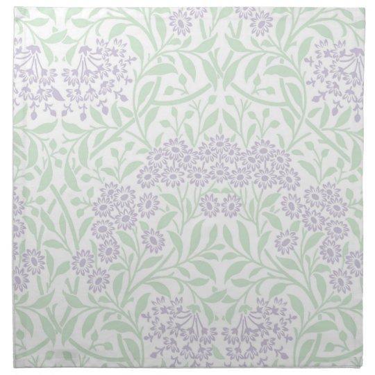 Green Lilac Floral Damask Pattern Printed Napkins