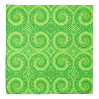 Green Lime Abstract Swirl Pattern Duvet Cover