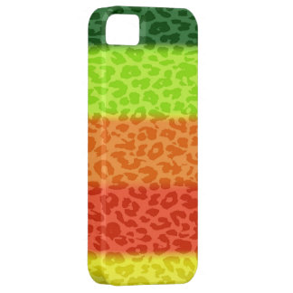 Green Lime Orange Red Yellow Leopard Retro Stripes iPhone 5 Cases