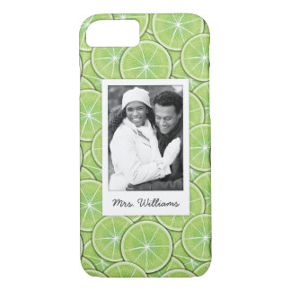 Green Lime Pattern | Add Your Photo iPhone 8/7 Case