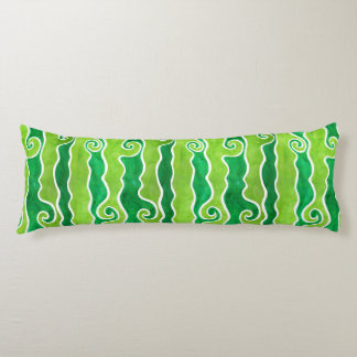 Green Lime Waves Body Pillow