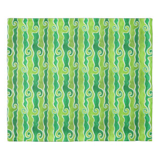 Green Lime Waves Duvet Cover