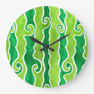 Green Lime Waves Large Clock