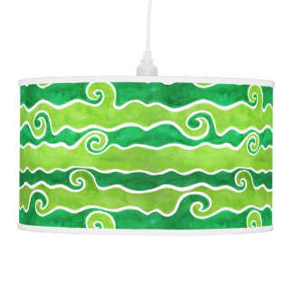 Green Lime Waves Pendant Lamp