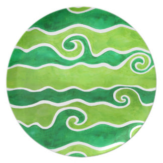 Green Lime Waves Plate