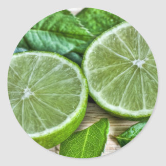 Green Limes and Mint Mojito Classic Round Sticker