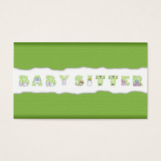 Green Linen Babysitting & Child Care Card