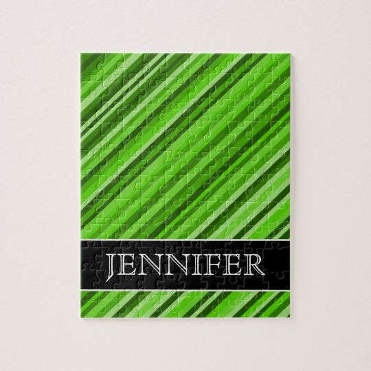 Green Lines/Stripes Pattern + Custom Name Puzzle