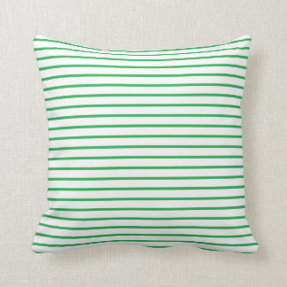 Green Lines White Throw Pillow