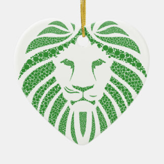 Green Lion Head Ceramic Ornament