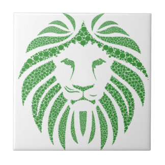 Green Lion Head Ceramic Tile