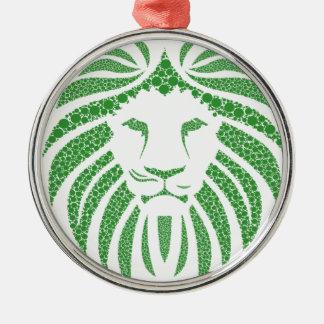 Green Lion Head Metal Ornament