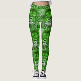 Green Lion Head Print Leggings
