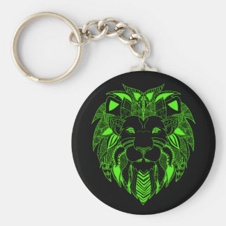 Green Lion With Background Colour of Your Choice Keychain