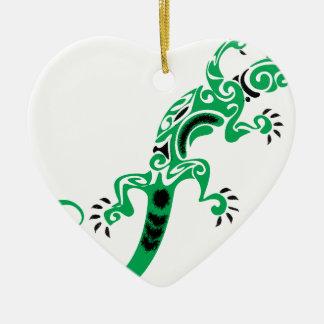 Green Lizard Drawing Ceramic Ornament