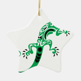 Green Lizard Drawing Ceramic Ornament
