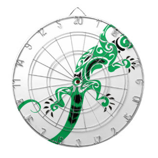 Green Lizard Drawing Dartboard