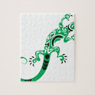 Green Lizard Drawing Jigsaw Puzzle