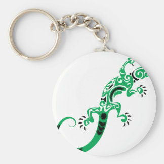 Green Lizard Drawing Keychain