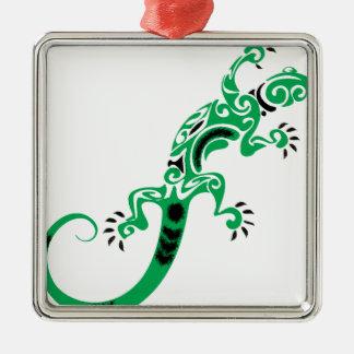Green Lizard Drawing Metal Ornament