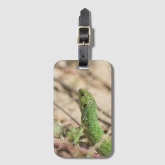 Green lizard luggage tag