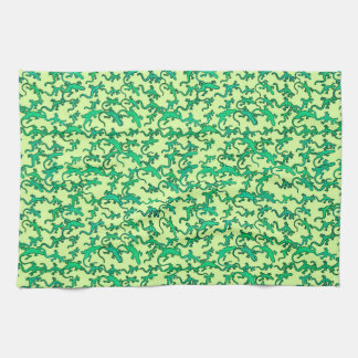 Green lizards on a lime green background hand towels