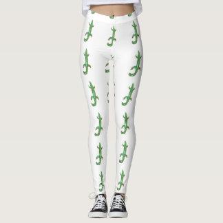 green lizards white leggings