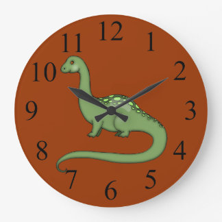 Green Long Neck Dinosaur Kids Wall Clock