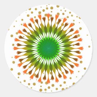 Green Lotus Flower  Gold  Confetti Wedding Classic Round Sticker