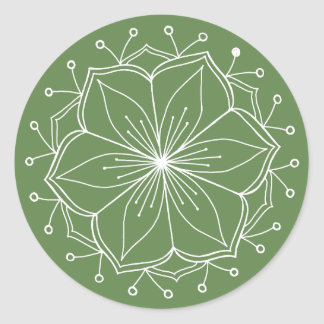 Green Lotus Flower Mandala Classic Round Sticker