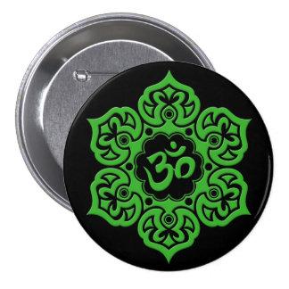 Green Lotus Flower Om on Black Pinback Button