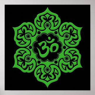 Green Lotus Flower Om on Black Poster