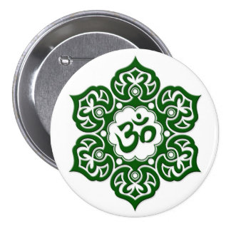 Green Lotus Flower Om on White Pinback Buttons