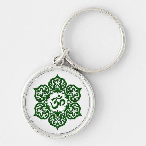 Green Lotus Flower Om on White Key Chains