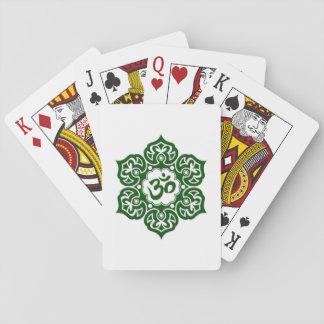 Green Lotus Flower Om on White Card Deck