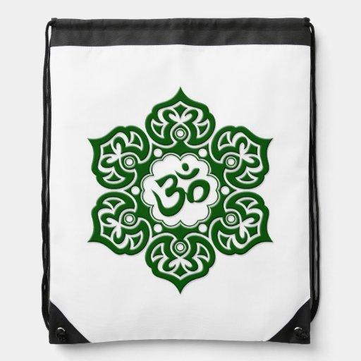 Green Lotus Flower Om on White Cinch Bag