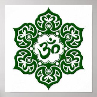 Green Lotus Flower Om on White Poster