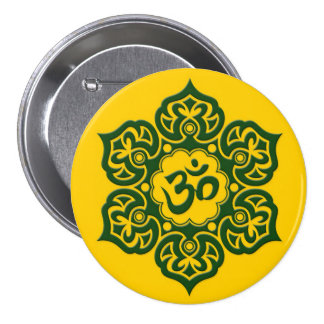 Green Lotus Flower Om on Yellow Pins