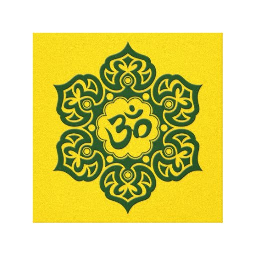 Green Lotus Flower Om on Yellow Gallery Wrap Canvas