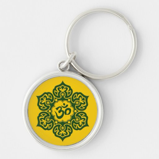 Green Lotus Flower Om on Yellow Key Chain